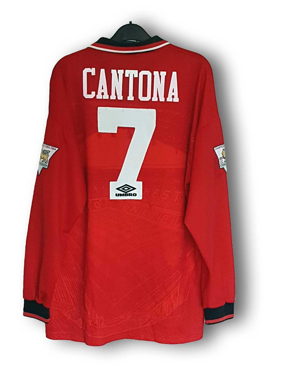 4da8f9341a5 Eric Cantona 1994 95. Red home shirt No 7  Match worn  Manufactured by ...